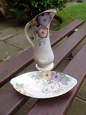 A Stunning Art Deco Maling Pearl Lustre Jug and Dish -  c1930's     Gorgeous!