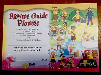 GirlguidingUK Brownie Promise Certificate; Old Promise.  New & Unused.