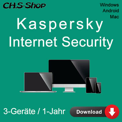 Kaspersky Internet Security 3-Geräte PC 2017 - 1-Jahr  WIN - MAC - Android / KEY