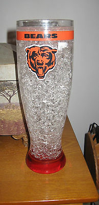 chicago bears beer glass NFL heavy plastic  about 11 inchs tall