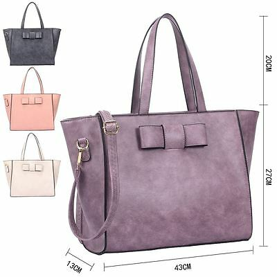 Tote Bow Handbag Womens Faux Leather Shoulder CUTE SHOPPER Wide Winged Everyday