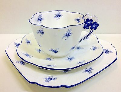 "Shelley Floral Dainty Shape ""Scattered Rose"" Pattern Tea Cup Trio."
