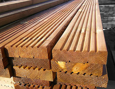 Pack of 10 2.4m Decking Boards - Wooden/Timber - 120mm X 28mm - High Quality
