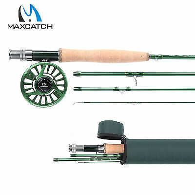Fly Fishing Combo 5WT 9FT Fly Rod Kit CNC Machined Fly Reel 5/6WT Green