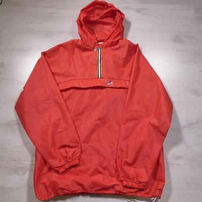 K-WAY Vintage Windbreaker Hooded Rain Jacket Festival Cagoule Medium #C2619