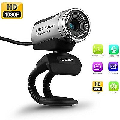 USB Webcam 1080P AUSDOM 12.0M HD Camera Web Cam with Built-in Microphone Clip...