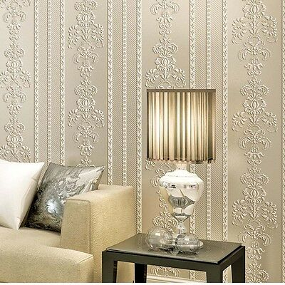 10M 3D Stereo Vertical Stripe Television Wall Damascus Flower Pattern Home Decor