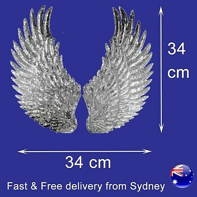 Sequin Angle wing iron on patch pair - 2 silver shiny fairy fly embroidery set