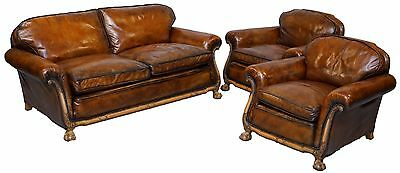 Circa 1910 Satin Wood Claw & Ball Feet Leather Three Piece Suite Armchairs Sofa