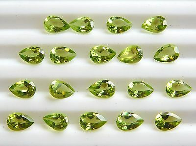 10.00 Cts 20 Pcs Natural Peridot Pear Cut Lot Loose Gemstone Size 4 X 6 MM C-428