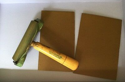 Lino Cutting Roller By Reeves & Sons Ltd Vintage And Two Pieces Of Lino