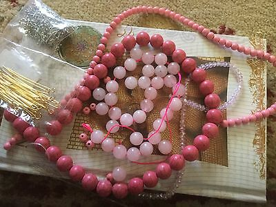 Jewellery Making Lot Pink Agate Beads And Metal Findings  New & Unused