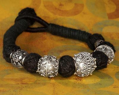 925Sterling Silver Bracelet Granulated Silver Bead & Traditional Yarn Wrap #011