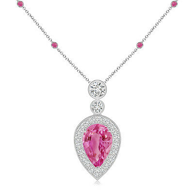 Natural Pear Pink Sapphire with Diamond Halo Necklace Pendant 14K White Gold