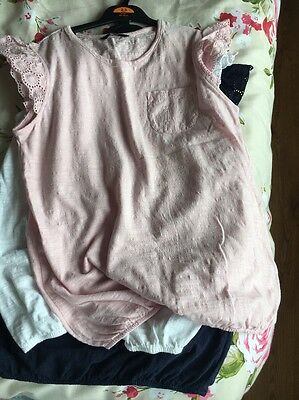 Girls T-shirts 11-12 Years 3 Pack White Pink And Navy