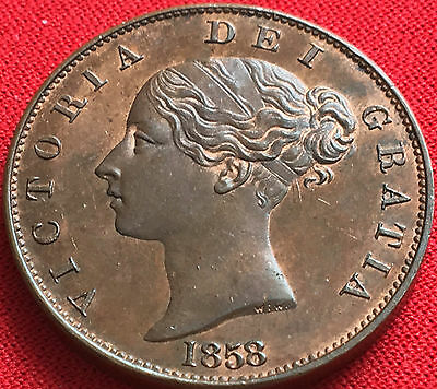 1858/7 half penny Uncirculated with lustre