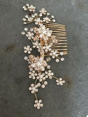 Diamanté Crystal Pearl Spray Flower Gold Hair Comb Bridal Wedding Accessories