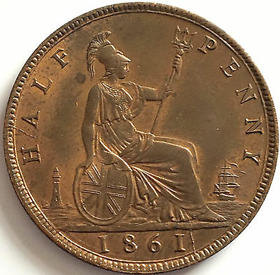 1861 half penny dies 7&G Uncirculated good lustre