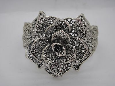 pretty chinese Handwork Old miao silver carven rose shape bracelet adjustable