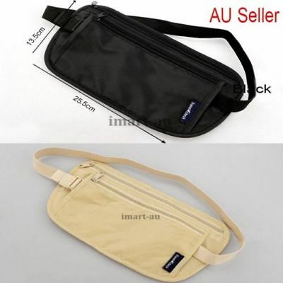 Travel Security Bag Passport Waist Pouch Card Ticket Money Belt Wallet Black