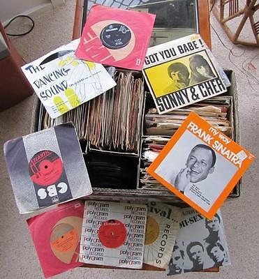 Over 200 records 45 rpm. Pop & other music. Vintage records. 1960's and later