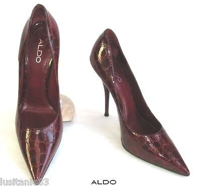 ALDO COURT SHOES HEELS NEEDLES 12 CM ALL PATENT LEATHER RED Dark 39 PERFECT