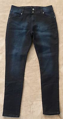 """CITY CHIC blue """"To Die For"""" skinny leg style denim jeans, Size 14, As New!"""