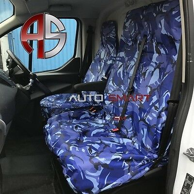 Renault Trafic (2010-On) Camouflage Dpm Camo Seat Covers Blue Waterproof 2+1