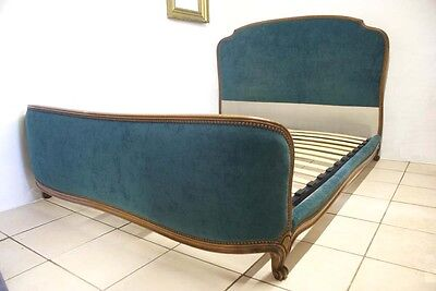 Vintage French Corbeille Double Bed Blue Green INCLUDES Slatted Base Upholstered