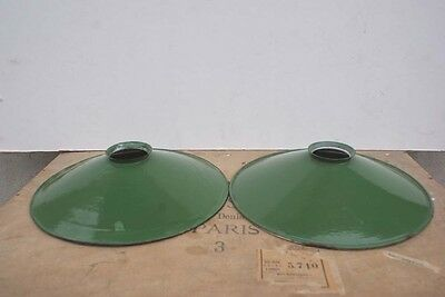 PAIR Industrial FRENCH Green Enamel Light Shades Lamps Coolies Pendants x 2