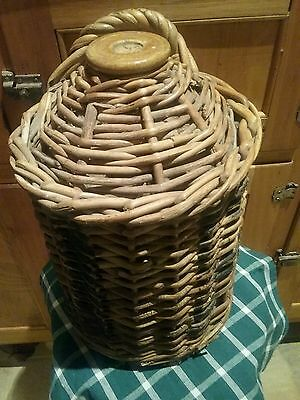 Antique Stoneware Demijohn In Original Wicker Basket