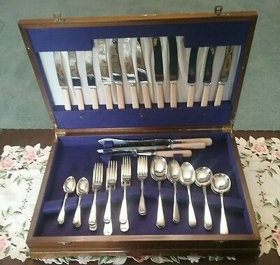 "Antique ""walker And Hall"" Cutlery Set ~ Sheffield England ~ Original Wooden Case"