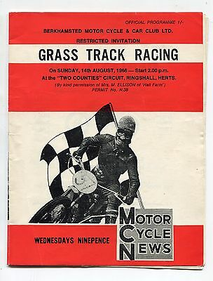 Berkhamsted Grass Track Racing Programme Ringshall 1966
