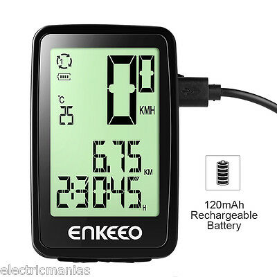 Wirless Bike Bicycle Cycle Computer Speedometer Odometer+USB Rechargeable Black