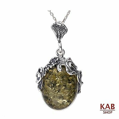 GREEN BALTIC AMBER STERLING SILVER 925 BEAUTY PENDANT+chain. KAB-18