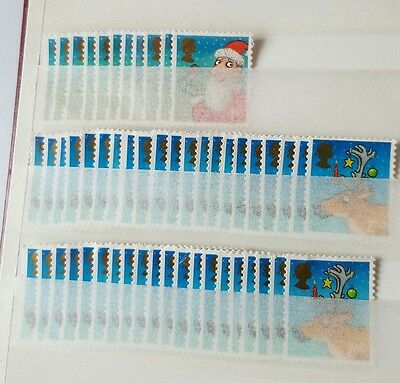 10x1st plus 40x2nd class Xmas stamps unfranked and off paper no gum
