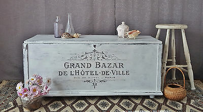 Vintage Timber Blanket Box - Painted French Script. Trunk / Chest / Coffee Table