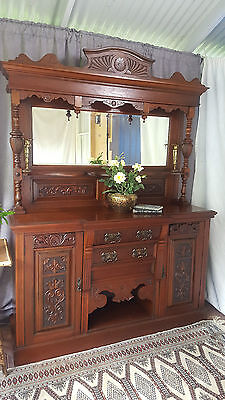 Gorgeous Victorian Carved Mahogany Breakfront Sideboard / Buffet / Cabinet