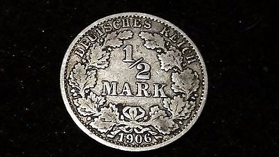 1906 'A' - Germany - 1/2 Mark Silver coin - average circulated condition  # 1578