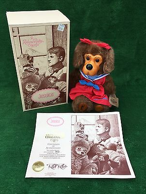 "Robert Raikes ""JESSICA"" Wood Face Collectible Teddy Bear DOG 1992 Numbered Foot"