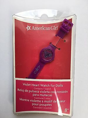"AMERICAN GIRL 18"" WRIST WATCH Violet Heart for Doll - BRAND NEW IN BOX NIB"