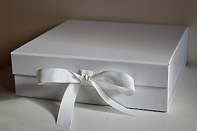 Luxury Large White Gift Box With Ribbon Detail And Magnetic Lid Keepsake Box