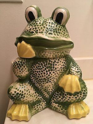 Vintage Green Frog Maurice Ceramic Cookie Jar