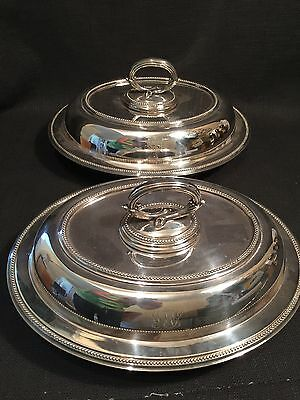 Antique Pair Of Walker & Hall Electroworks Sheffield Silver Plate Entree Dishes
