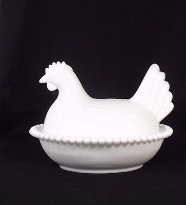 Vintage Indiana White Milk Glass 2 Piece Hen on Nest Beaded Hobnail Serving Dish