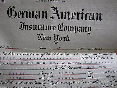 1916 Canadian Insurance Policy German American New York Moncton Building
