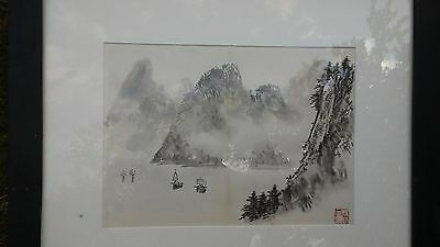 Japanese Watercolor Painting of Zen Mountains....Signed ORIGINAL + Framed!!!