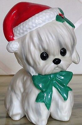 Vintage Lefton Japan Christmas In July Santa Claus Maltese Puppy Dog!