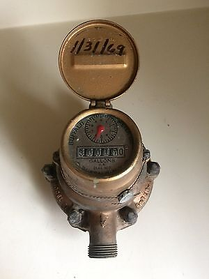 Vintage 1969 American Water Meter Solid Brass with guage Buffalo New York USA