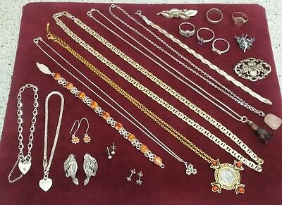 Job Lot Of Sterling/Solid Silver Jewellery (21 items in total)